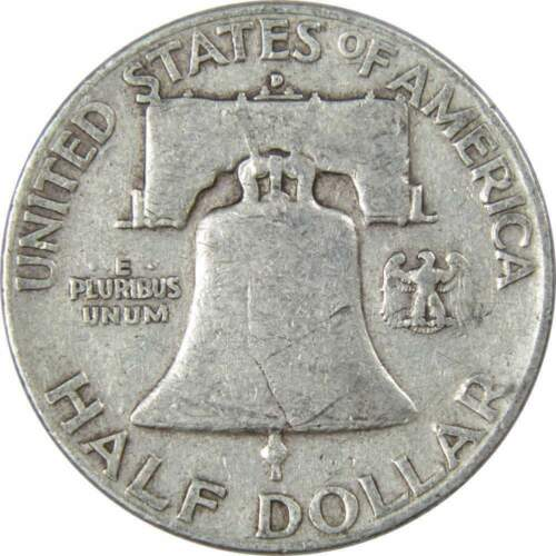 1951 D 50c Franklin Silver Half Dollar US Coin Average Circulated