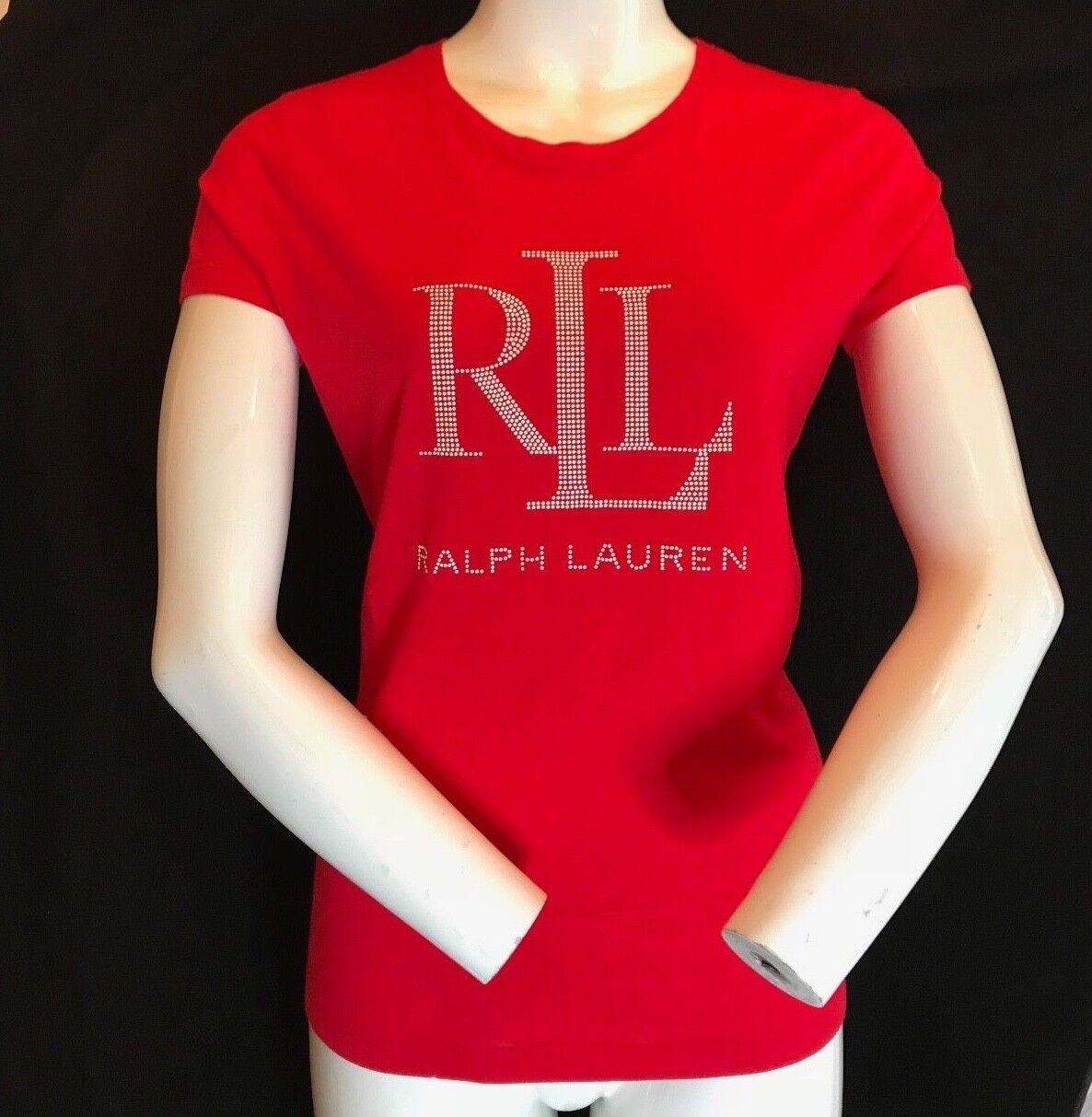 BNWT LAUREN RALPH LAUREN Ladies' New Season LRL Stud Logo rot T Shirt Größe XL