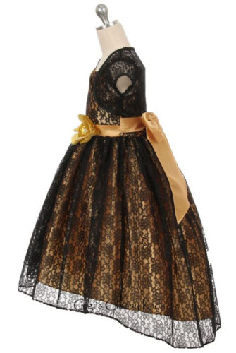 Black Gold Flower Girls Lace Dress Wedding Pageant Christmas Easter Party 336