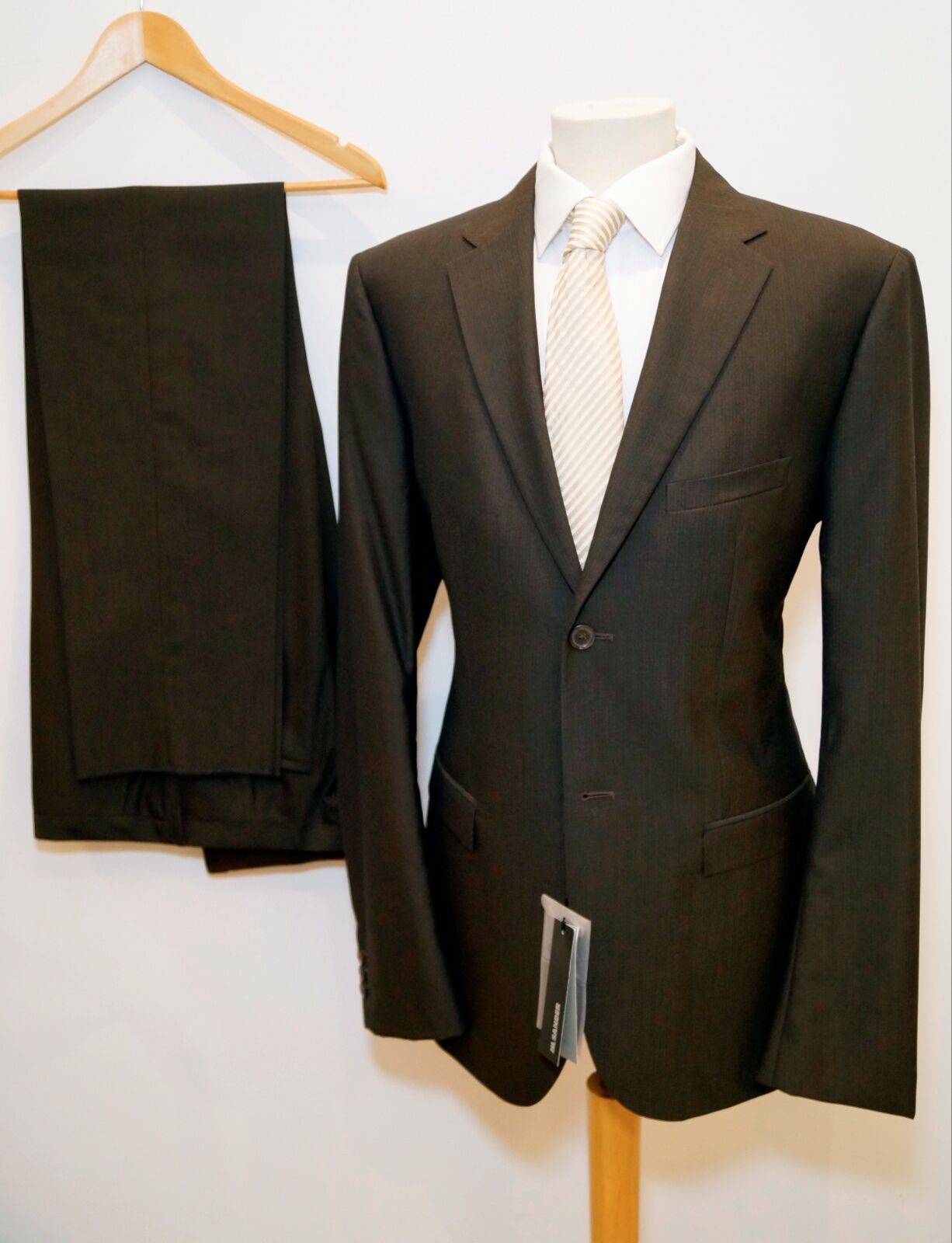 JIL SANDER 'Tailor Made' Dark Braun + Charcoal Fitted Wool Suit 46 :