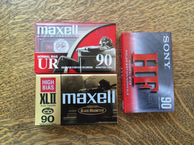 Set of 3 Cassette Tapes Blank Media NEW Maxell  UR 90 Maxell XL II Sony HF