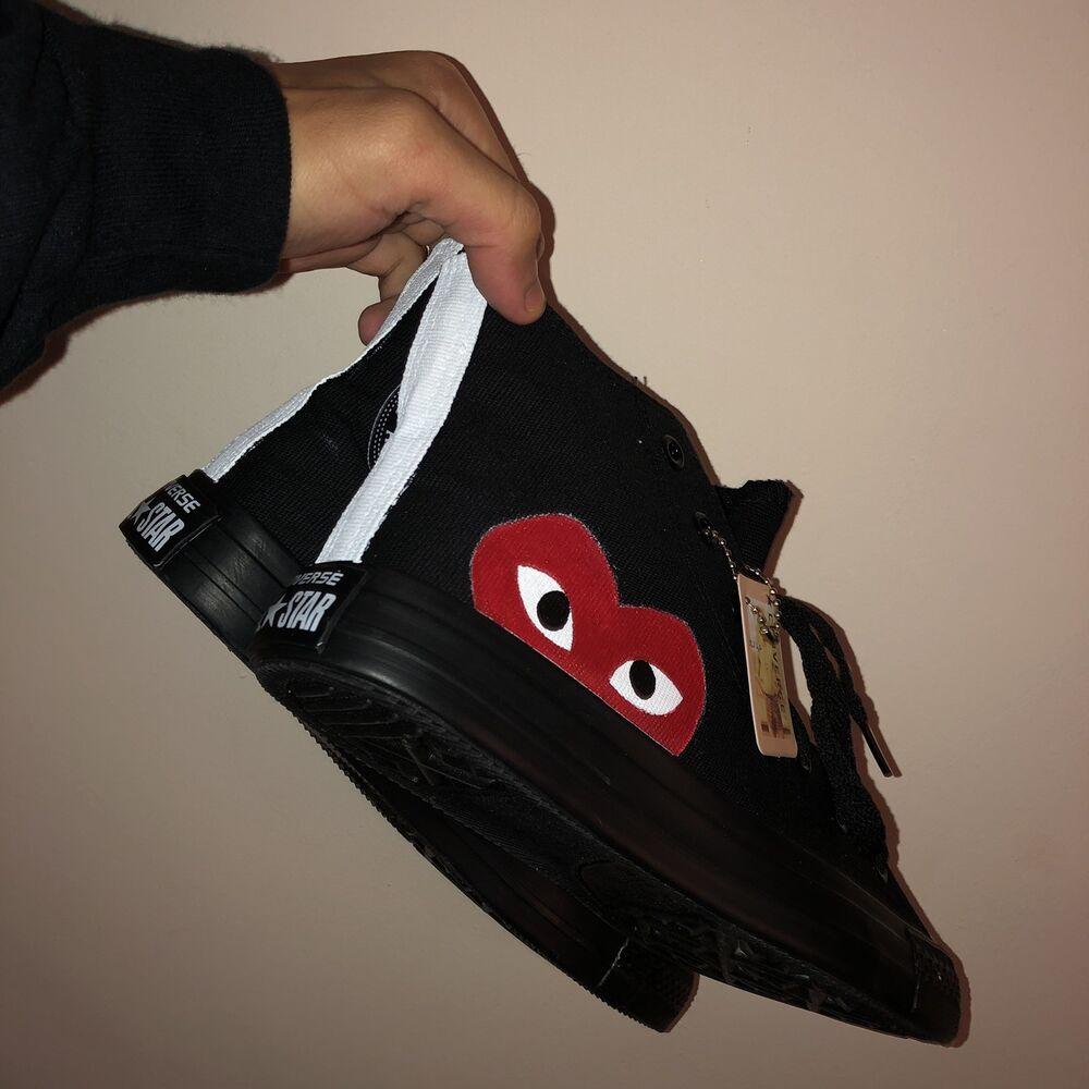 à Condition De Converse Custom Painted Unisexe Noir Taille 6 Baskets Sans Boîte Saveur Aromatique