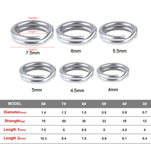 Line Tackle Fishing Split Rings Swivel Snap Stainless Steel Fish Connector