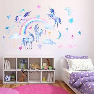 8b2c505e972 Image is loading Unicorn-Rainbow-Cloud-Star-Heart-Wall-Decal-Removable-