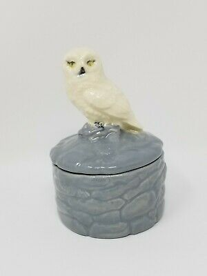 Owl Trinket Box Ceramic White And Blue Small New