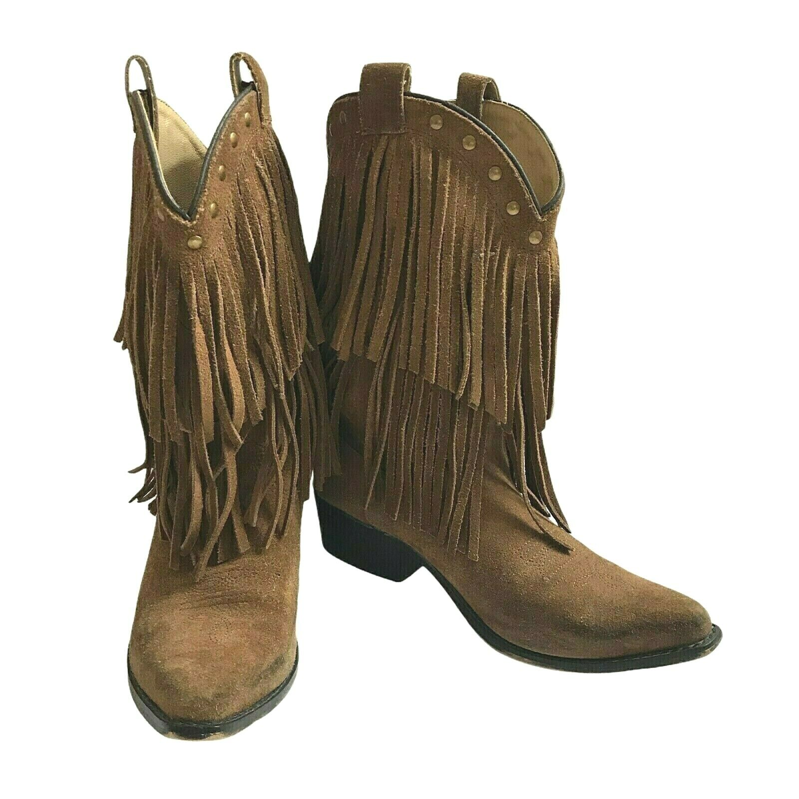 Smoky Mountain Boots Wisteria Fringed Western Boots Girls 4.5 M Womens 6 M Brown