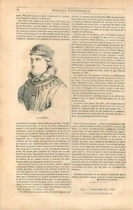 Portrait du Roi René dit le Bon duc d'Anjou Roi de Naples & Sicile GRAVURE 1839 - France - Portrait of King René says the Good Duke of Anjou King of Naples & Sicily Comte de Provence France Article Complet ANTIQUE PRINTGRAVURE 100 % DÉPOQUE 1839 PORT GRATUIT EUROPE A PARTIR DE 4 OBJETS BUY 4 ITEMS AND EUROPE SHIPPING IS FREE Il s'agi - France
