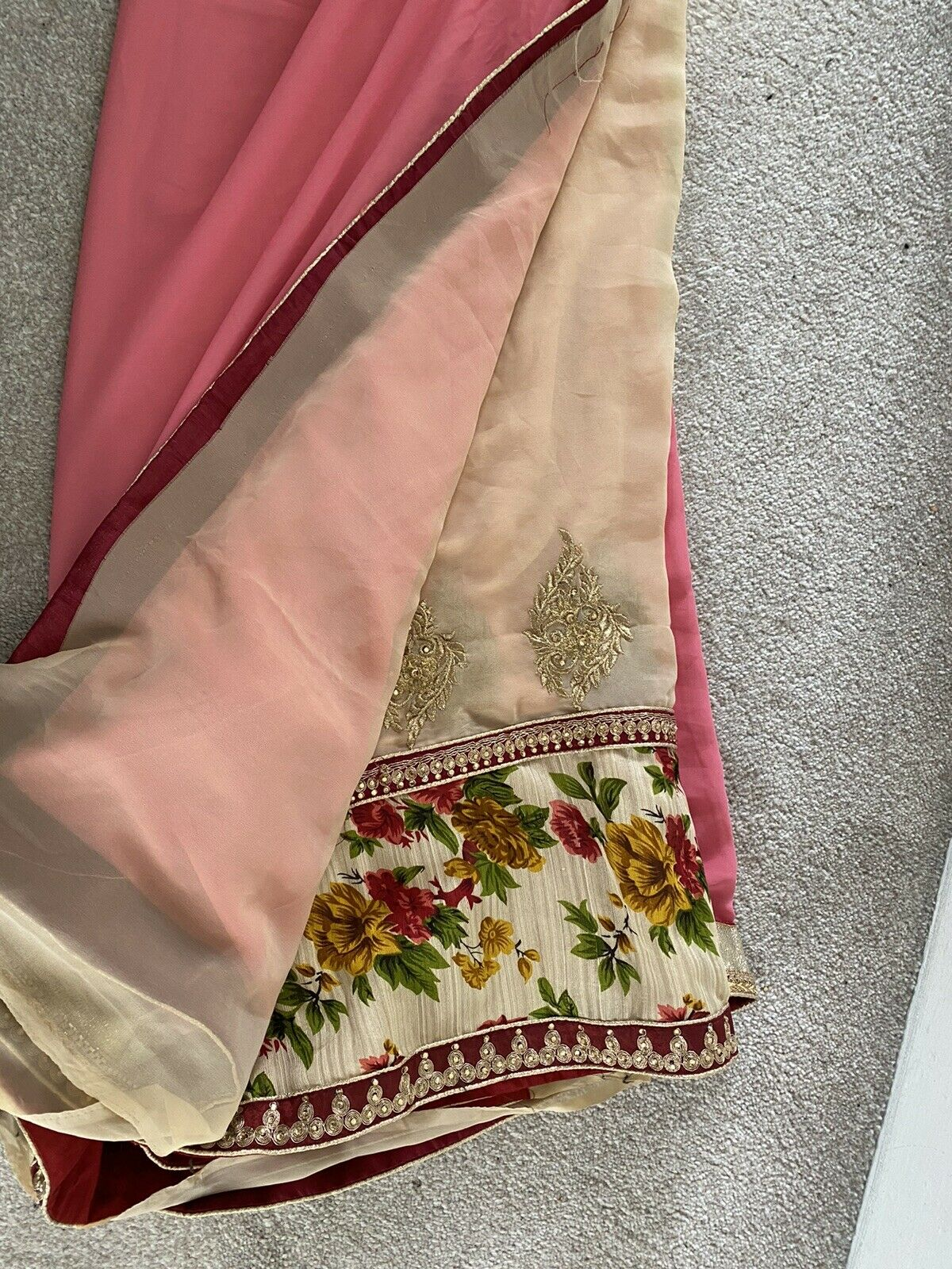 Pink And Beige 2 Tone Saree Sari Partywear Wedding Wear Bollywood