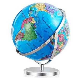 """13"""" Illuminated World Globe 720° Rotating Education Cartography Map Home W/ LED"""