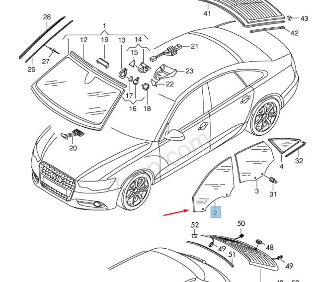 Audi A4 B8 Delantero Derecho Puerta Ventana 8K0845202D Original