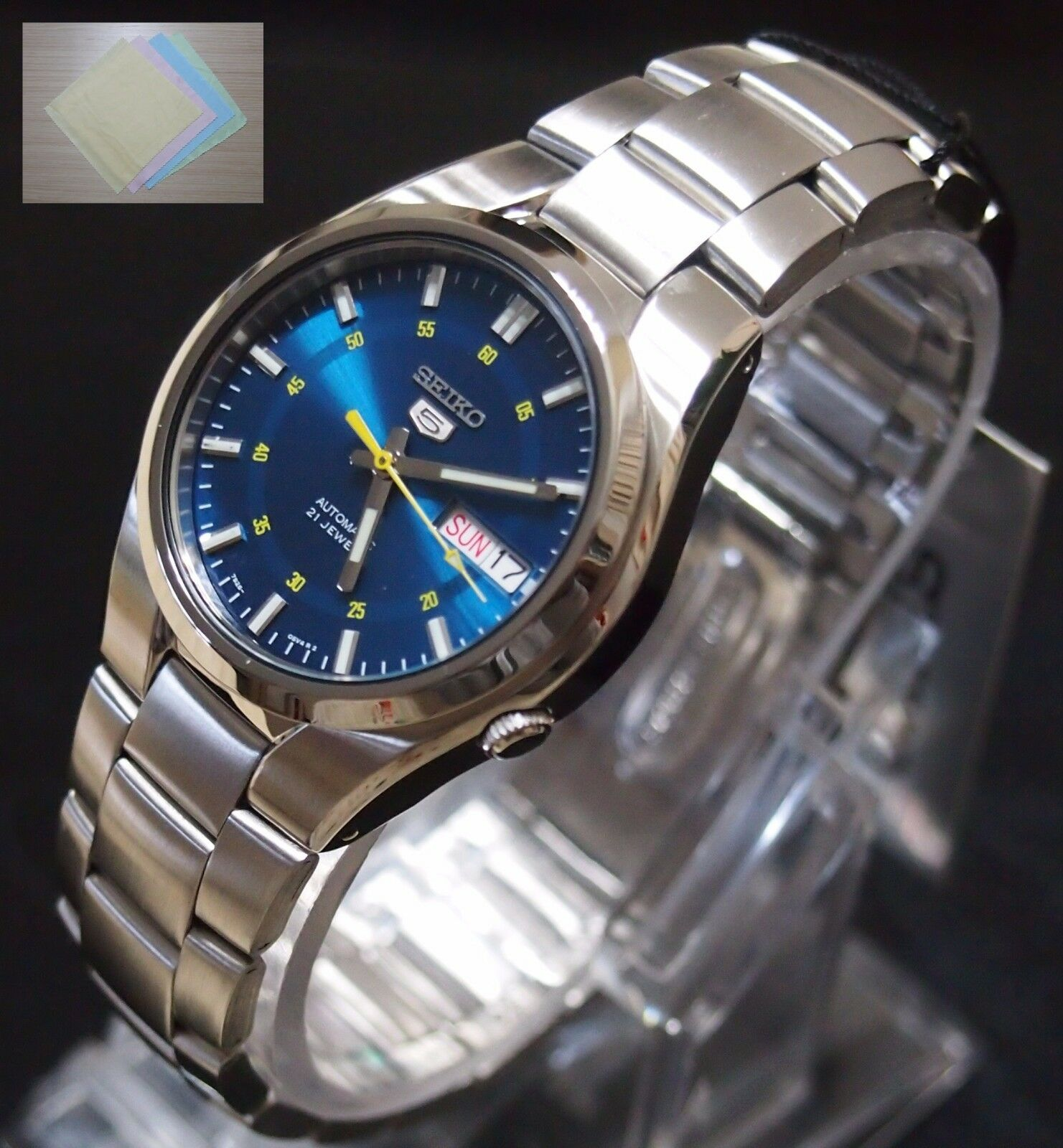 super popular 07f9d 5a49e SEIKO 5 SNK615 Stainless Steel Band Automatic Men's Blue Watch SNK615K1 +  Gift