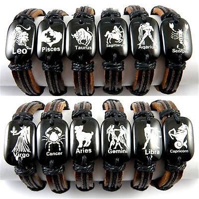 Hemp leather bone vivid Constellations Zodiac bracelet