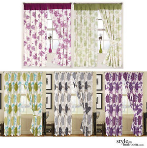 Pair-Fully-Lined-Big-Floral-Print-Curtains-in-6-Colours-amp-4-Sizes-incl-Tie-Backs