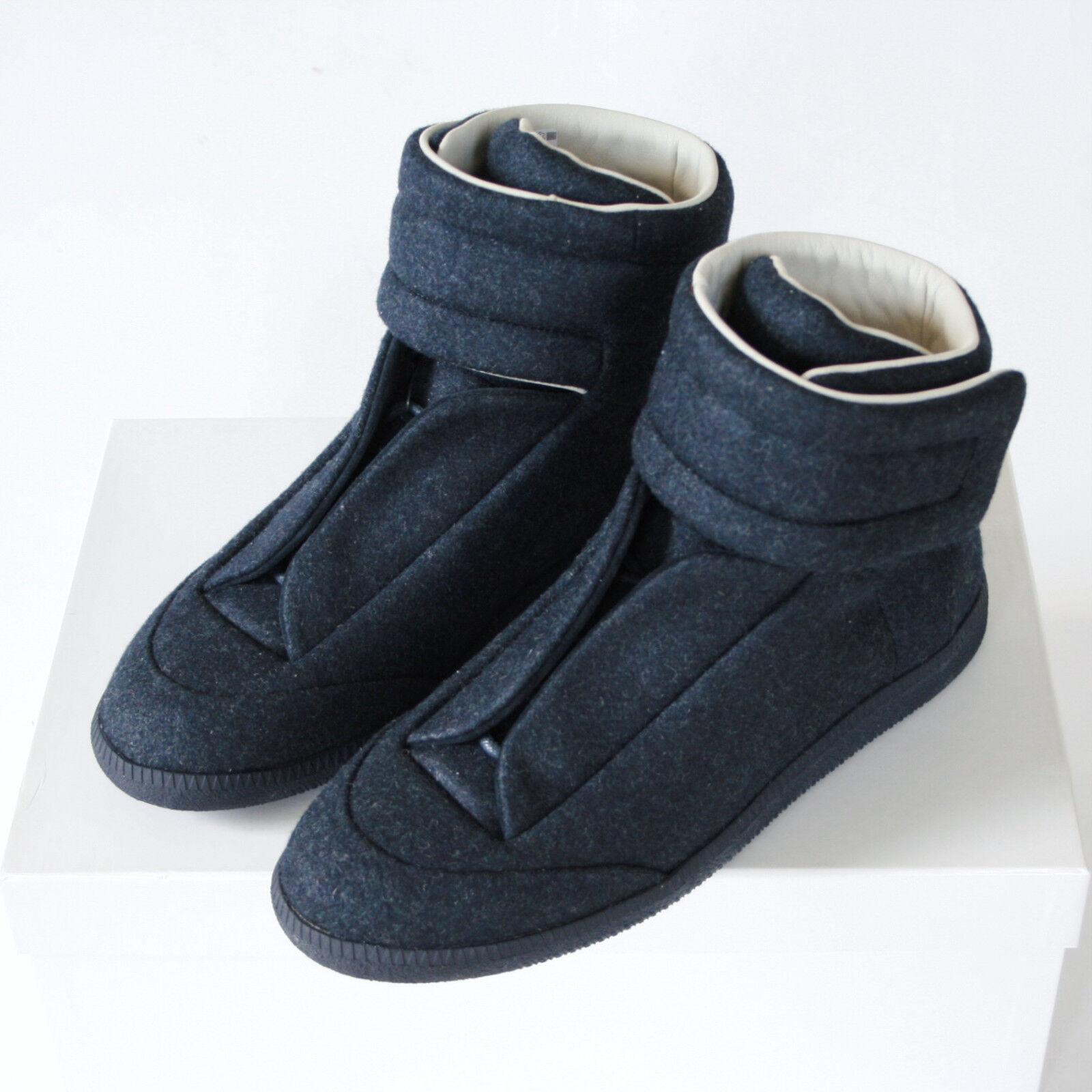 MAISON MARTIN MARGIELA dark blue felt hi-top strap shoes Future sneakers 40 NEW