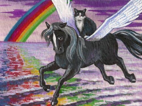 1.5x2 DOLLHOUSE MINIATURE PRINT OF PAINTING RYTA 1:12 SCALE TUXEDO RAINBOW CAT