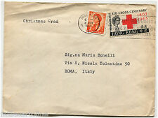 HONG KONG, ANNUL 1963, SENT TO ITALY, STAMP RED CROSS C10 + C5          m