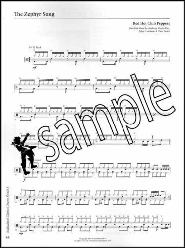 Rockschool Classics Drums Grade 5 Sheet Music Book Metallica Jimi Hendrix Who