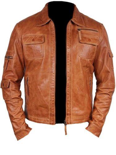 Mens Fashion Real Sheep Leather stylish Moto Jacket All Size