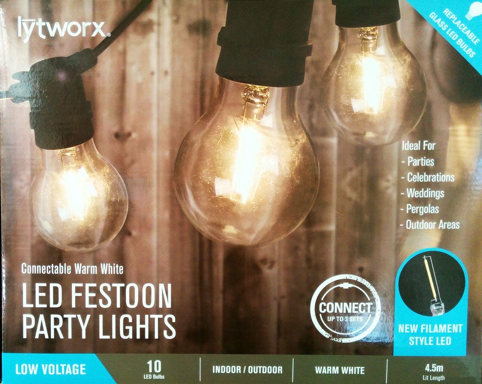 10 Pieza Conectable LED luz de cuerda transparente festoon Fiesta Kit-Estilo Vintage