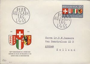 SUISSE-SWITZERLAND-SCHWEIZ-1965-Valais-Geneva-amp-Neuchatel-set-Mi-819-on-FDC