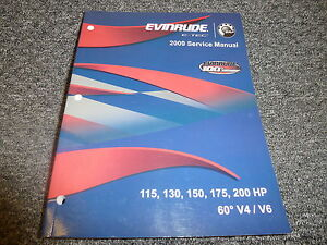 2009 evinrude 115 130 150 175 200 hp 60 v4 v6 e tec shop service rh ebay com 2009 evinrude etec 150 service manual Evinrude E-TEC 150