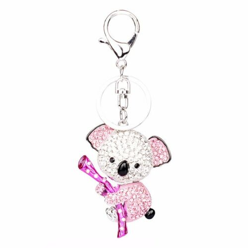 High Quality Drip Alloy Keychain Chaveiro cute Koala rhinestone crystal KeyChain
