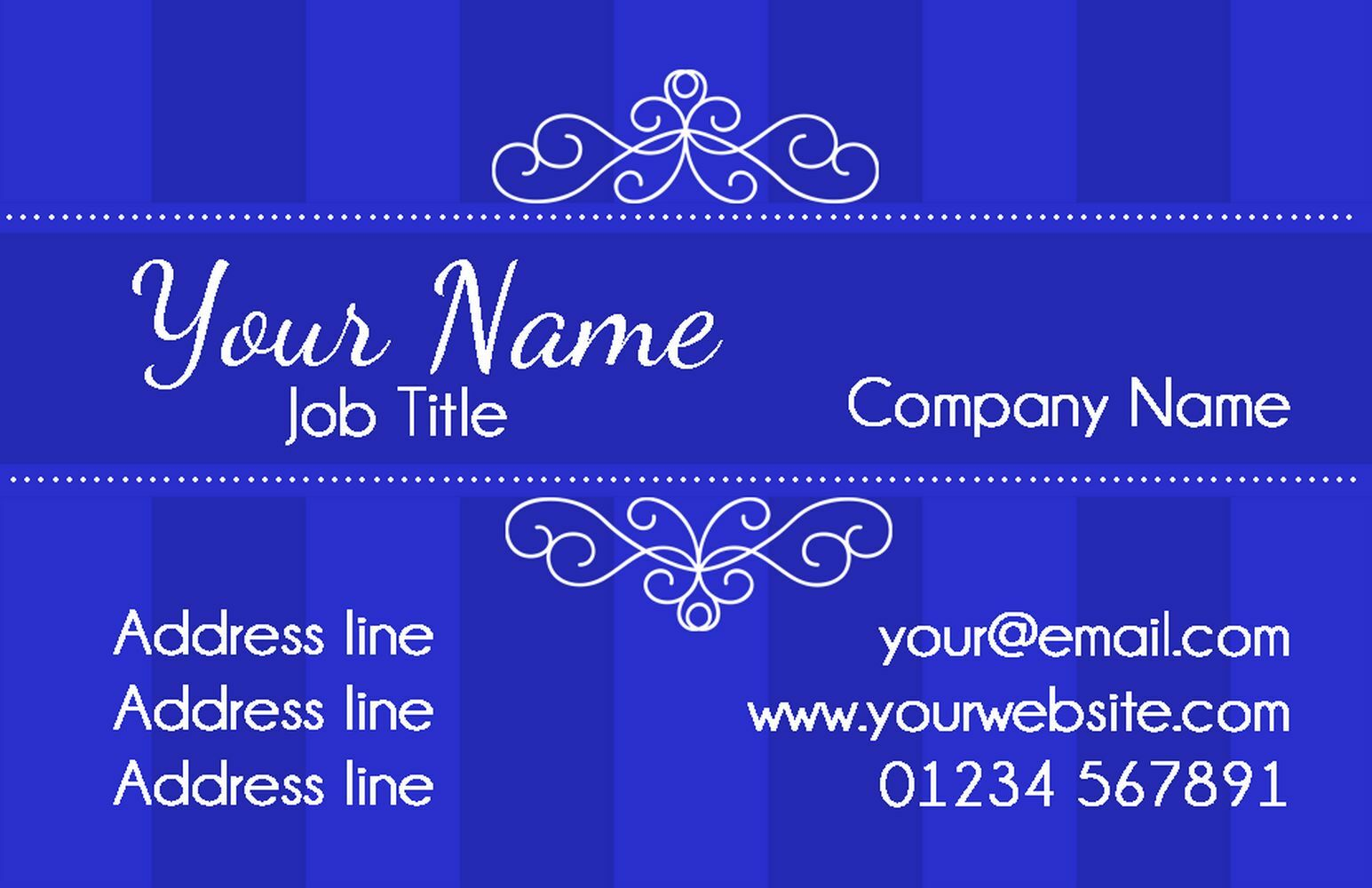 Champagne Classic Dark Blau Personalised Business Cards