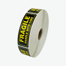 1000 1x3 Fragile Bright Yellow Amp Black Handle With Care Mailing Shipping Labels