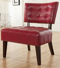 red tufted accent chair oversized wood legs frame dressing mirror table makeup - Wood Frame Accent Chairs