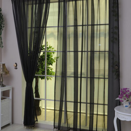 12 Color 2Pcs Sheer Window Tulle Curtain Solid Panel Drapes Scarf Valances Decor