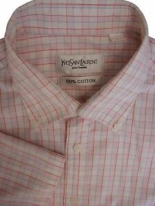 de8b2a70e1f YVES SAINT LAURENT YSL Shirt Mens 16 L Pink White Red   Blue Check ...