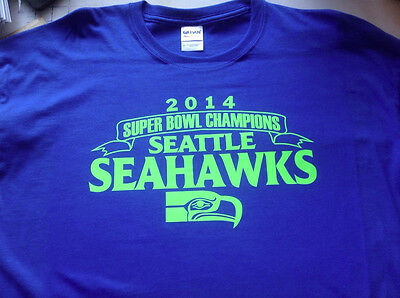 t-shirt Seattle Seahawks World Champs custom Super Bowl Blue Lime 2014 5 sizes