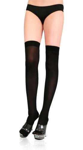 Opaque Thigh High Stockings Black White Red Fancy Dress Costume Stockings