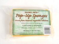 Trader Joe Pop-up Sponges 12 Pack Natural Vegetable Cellulose 4 X 3 X 1