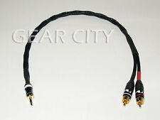 """chf1r 0.5m 20"""" Headphone 3.5mm Stereo Jack to RCA Aux Silver Cable iPhone Plug"""