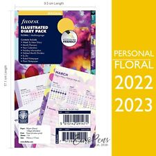 Filofax 2022 2023 Illustrated Floral Personal Size Week On 2 Pages Diary Refill
