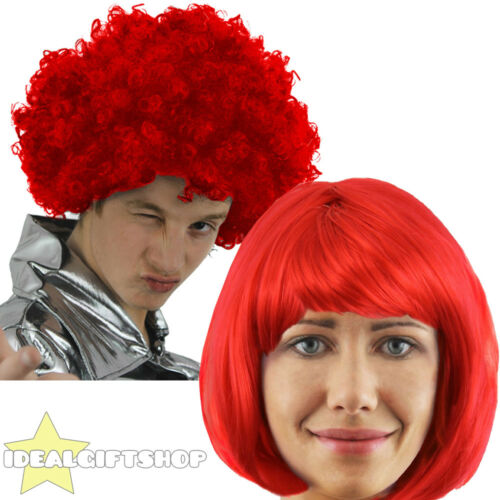 RED NOSE DAY WIGS CHOOSE FROM RED BOB WIG WITH FRINGE OR RED CURLY AFRO WIG