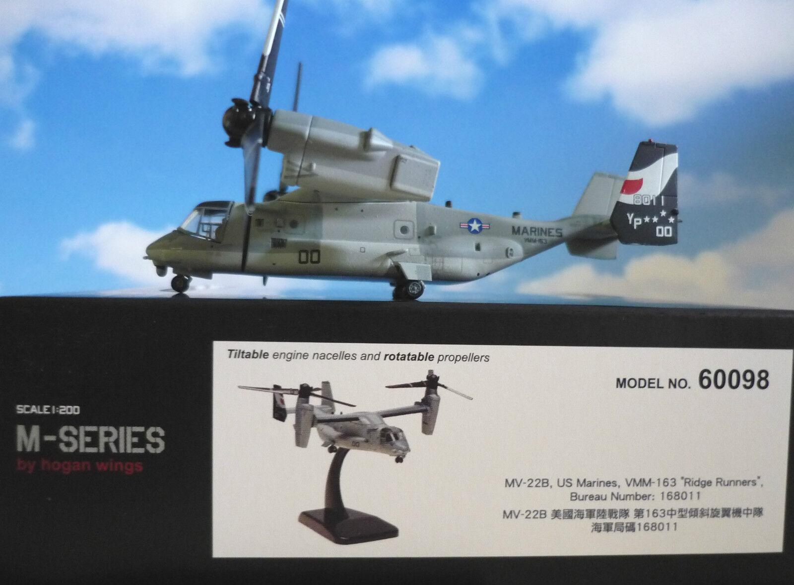 HOGAN Wings 1 200 Boeing MV 22b Osprey U.S. MARINES 60098 + Herpa WINGS Catalogo