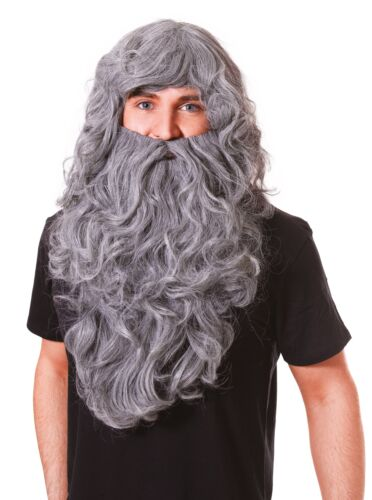 Halloween Fancy Dress Wizard Wig And Beard Set Grey Troll Caveman Accessory