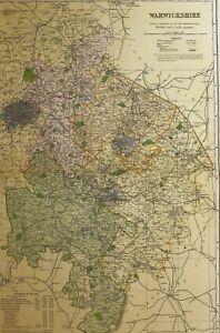 Image Is Loading 1898 ORIGINAL COUNTY MAP WARWICKSHIRE STRATFORD UPON AVON
