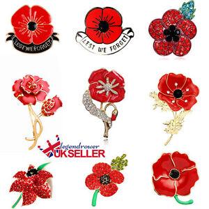 Enamel remembrance brooch red poppy flower lapel pin broach badge image is loading enamel remembrance brooch red poppy flower lapel pin mightylinksfo