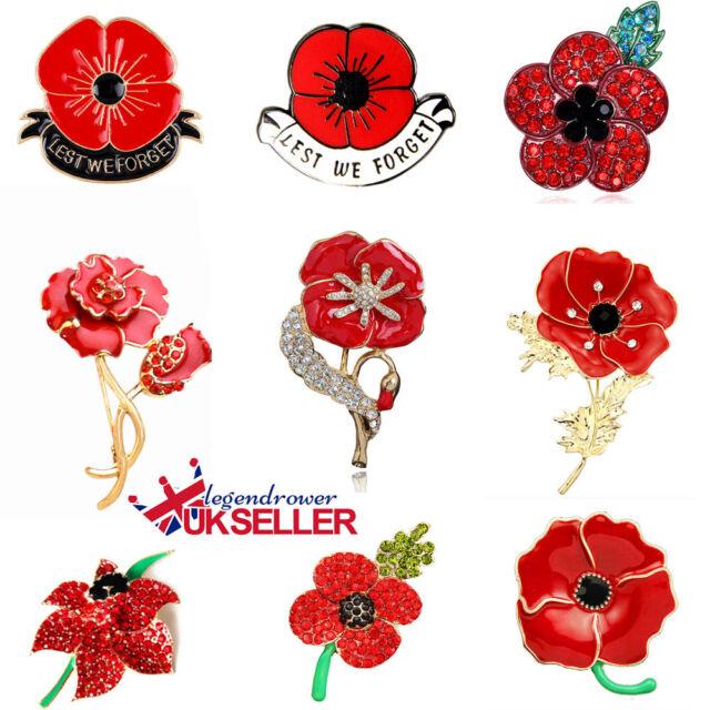 Flower Poppy Vintage Brooch Badge Pin Red Crystal Poppies Brooche Broach Women F