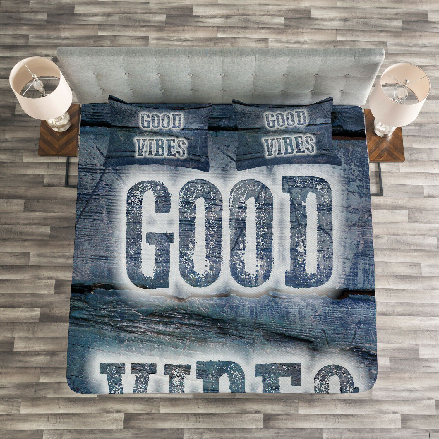 Good Vibes Quilted Bedspread & Pillow Shams Set, Quote on Wood Planks Print