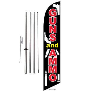 GUNS /& AMMO Swooper Flutter Feather Flag Sign Blade Banner x x Windless