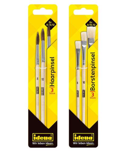Holz Natur 3 Haarpinsel und 3 Borstenpinsel Idena Schulmalpinsel-Set 6tlg