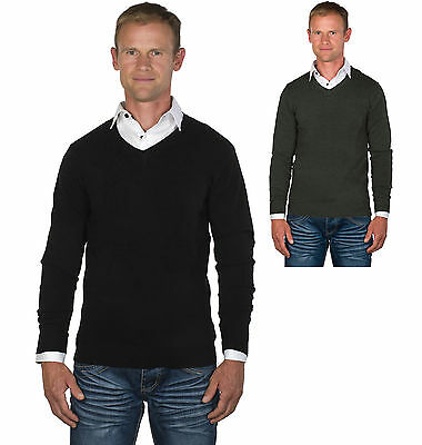 Pierre Cardin Mens New Season V Neck Knitted Jumper with Mock Shirt Collar Insert