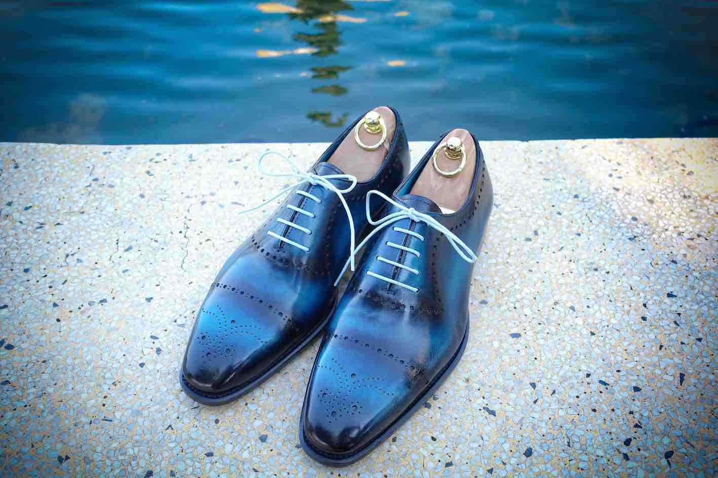 senza esitazione! acquista ora! blu Uomo Patina lace scarpe handmade handmade handmade oxfords custom made dress scarpe for men  nessun minimo