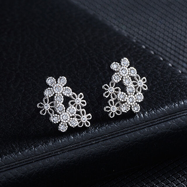 Women Flower Silver Plated Zircon Earrings  Rhinestones Ear Stud Jewelry