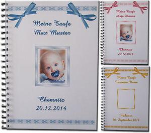 Gaestebuch-Fotoalbum-Taufe-Geschenk-Baby-Bild-Taufgeschenk-Symbole-Schleifen