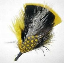 Yellow, Black & White - Hat Band Feather Hatband Feathers - Classic Fedora Trim